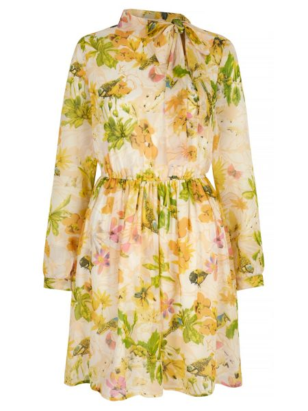 Yumi Bird and Floral Print Pussybow Dress