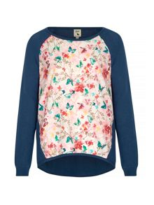 Yumi Butterfly and Floral Print Jumper