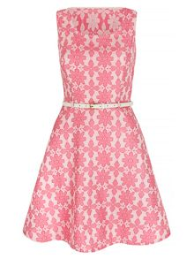 Mela London Hot Pink Geo Flowers Dress with Belt inc