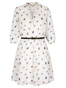 Yumi Bird Print Shirt Dress