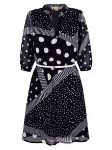 Yumi Polka Dot and Stripe Print Shirt Dress