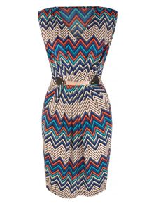 Mela London Chevron Zig Zag Print Pencil Dress