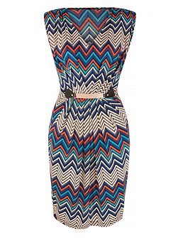 Chevron Zig Zag Print Pencil Dress