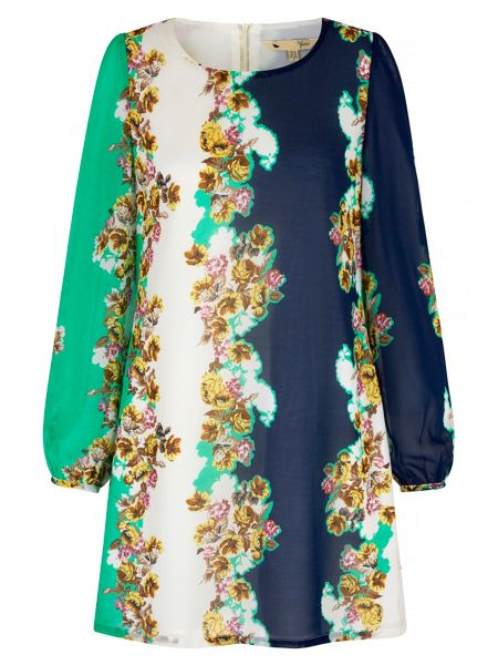 Yumi Floral Print Contrast Tunic Dress