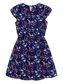 Yumi Girls Girls Daisy Print Skater Dress