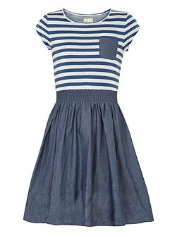 Girls Stripe Print Skater Dress