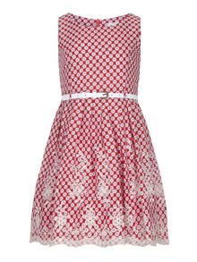 Yumi Girls Girls Butterfly Print Lace Hem Day Dress