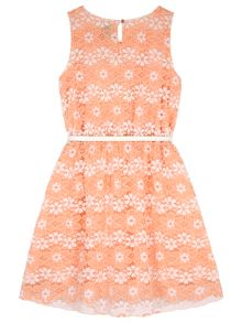 Yumi Girls Girls Floral Lace Print Dress