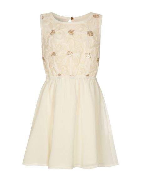 Yumi Girls Girls 3D flower embroidery dress