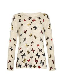 Yumi Girls Girls Butterfly Print Cardigan