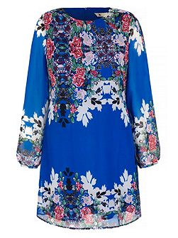 Abstract Floral Print Tunic Dress