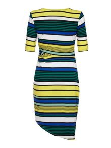 Yumi Stripe Print Sideknot Dress