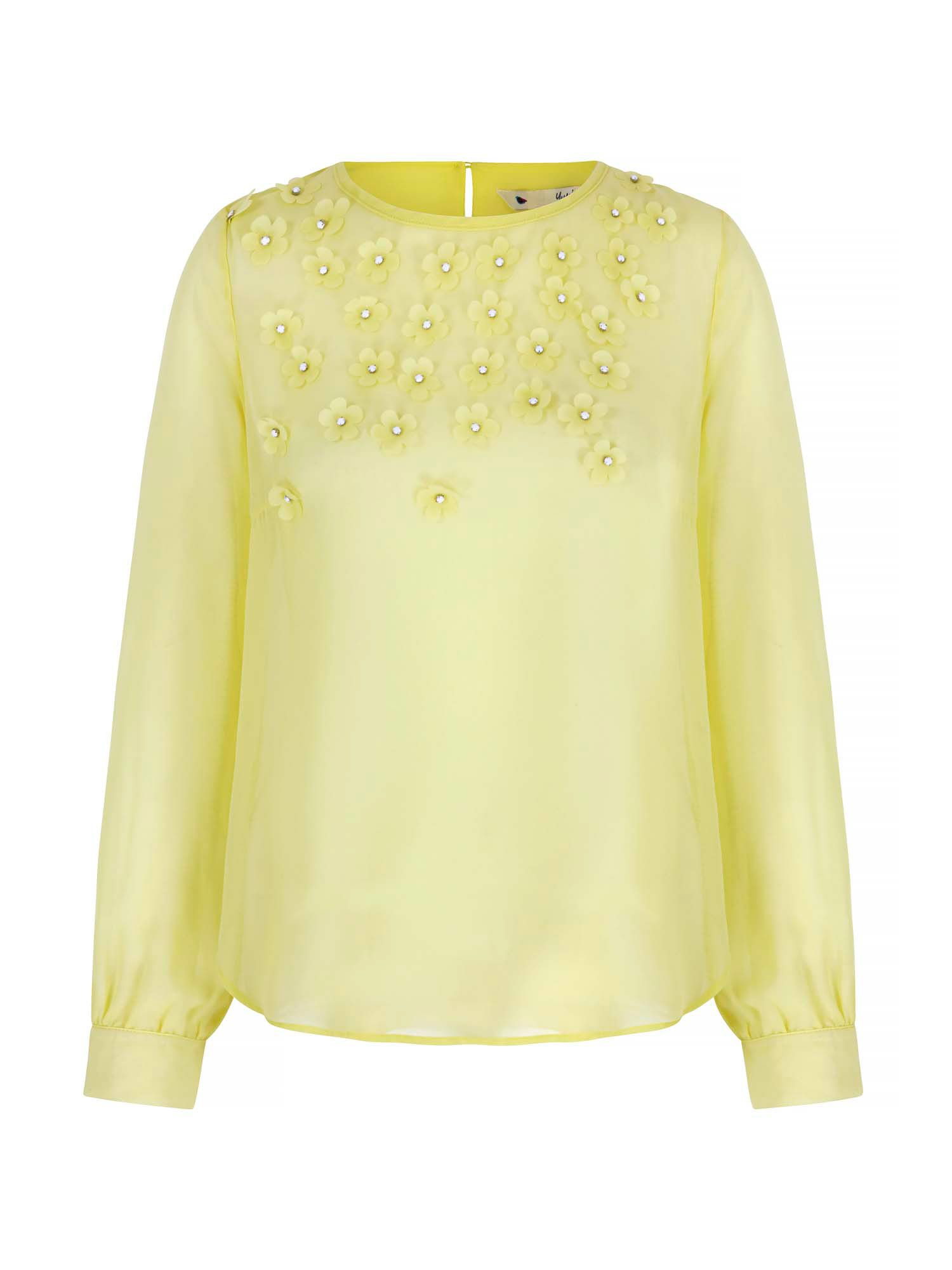 Yumi 3D Floral Embellished Top, Green