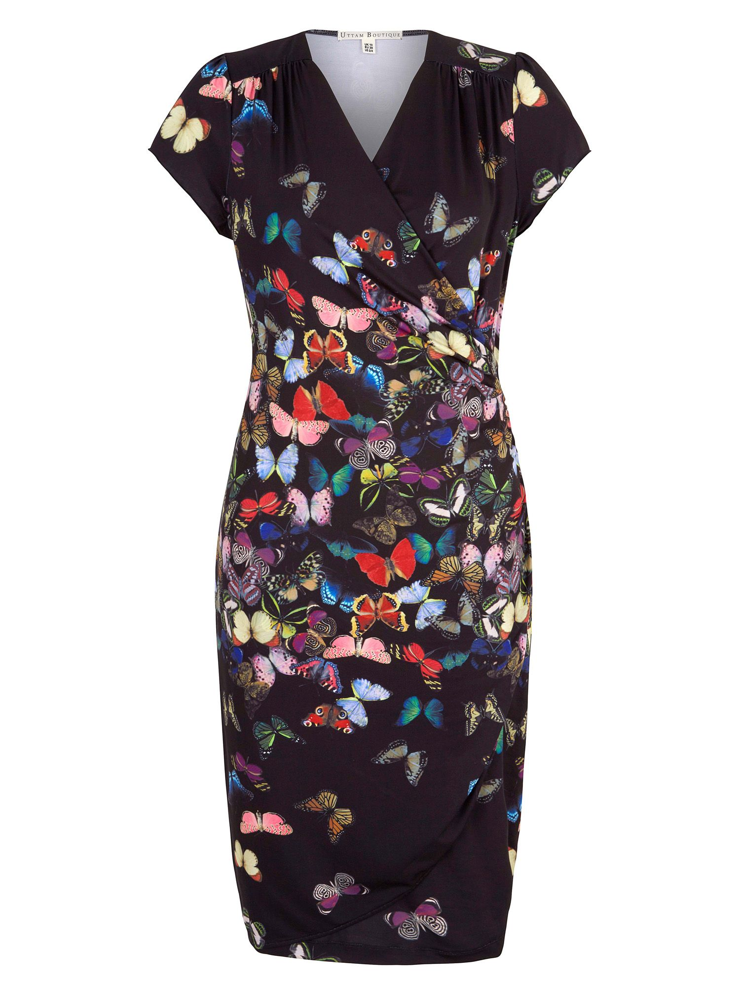 Yumi Butterfly Print Wrap Dress, Black