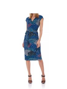 Yumi Abstract Floral Print Wrap Dress