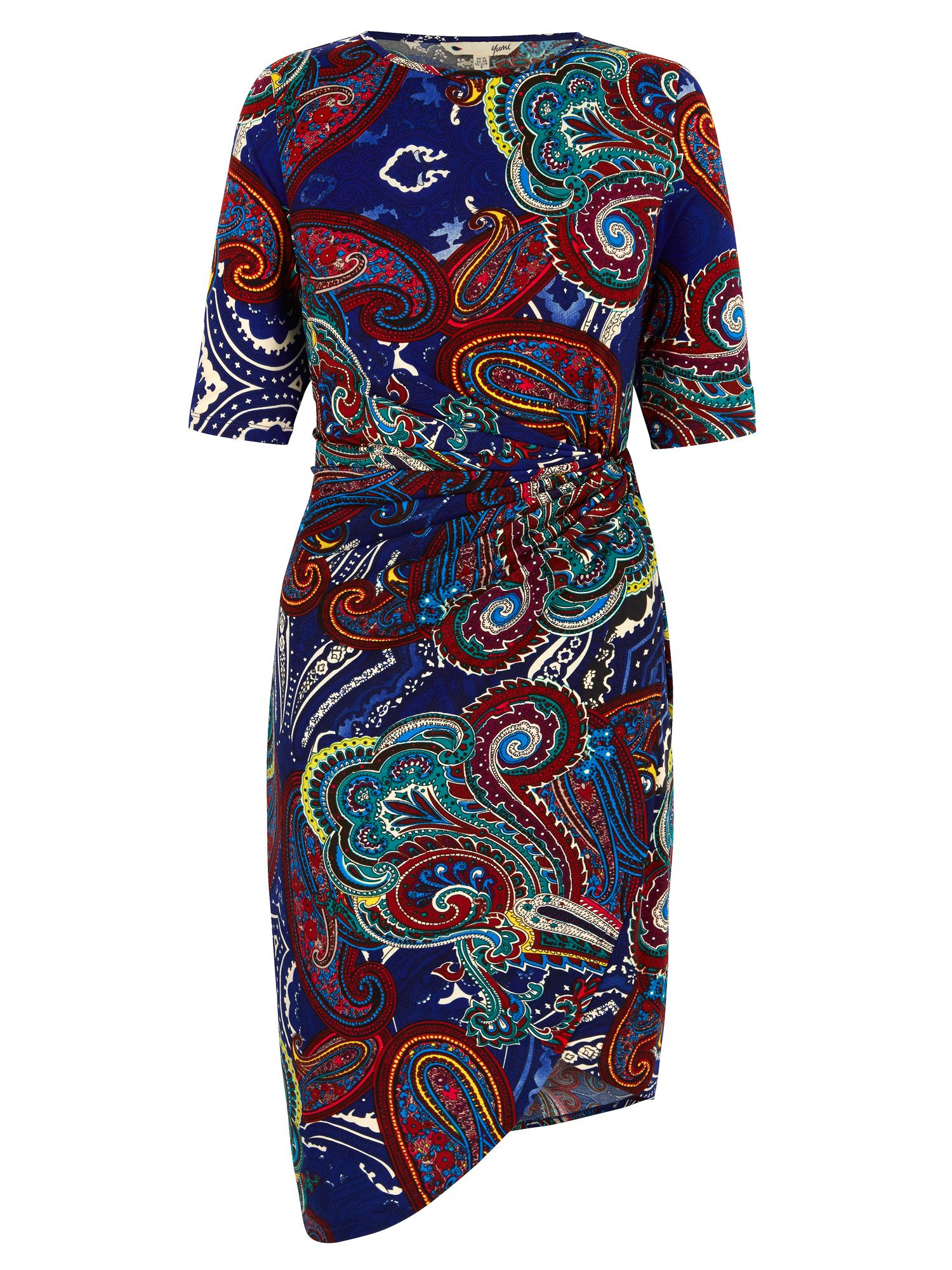 Yumi Paisley Print Sideknot Dress, Multi-Coloured