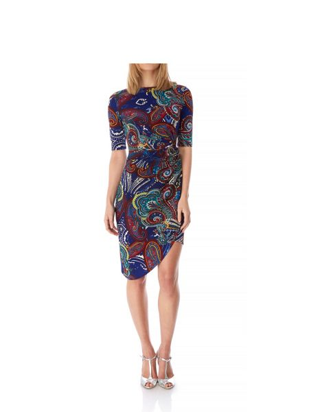 Yumi Paisley Print Sideknot Dress