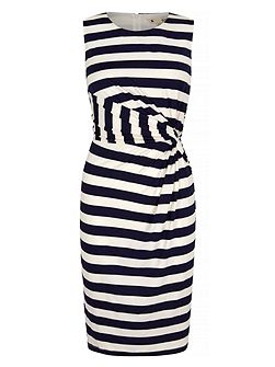 Stripe Print Sideknot Day Dress