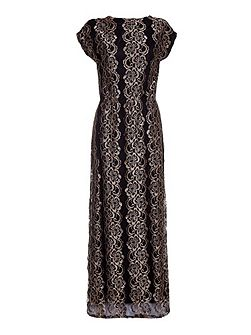 Bronze Maxi Dress With Floral Lace