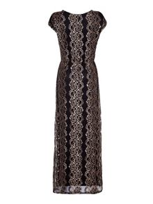 Mela London Bronze Maxi Dress With Floral Lace