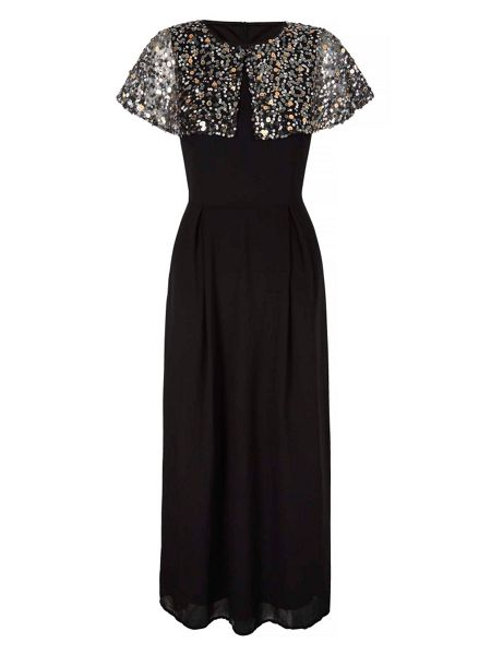 Mela London Sequin Cape Maxi Dress