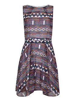 Aztec Print High Low Hem Skater Dress