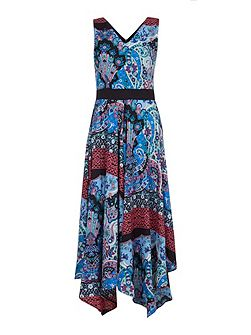 Mixed Paisley Print Midi Dress