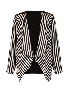 Mela Loves London Stripe Print Waterfall Jacket