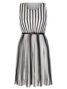 Mela London Stripe Print Pleated Dress