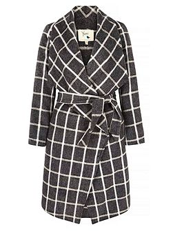 Checked Waterfall Wrap Coat