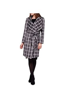 Yumi Checked Waterfall Wrap Coat