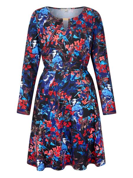 Yumi Bird Print Jersey Dress With Long Sleeves