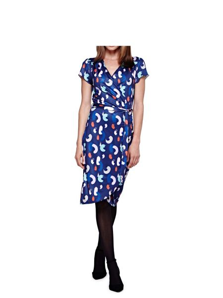 Yumi Printed Brush Stroke Wrap Dress