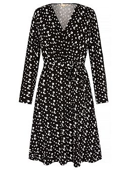 Jersey Wrap Dress With Mini Brush Stroke Print