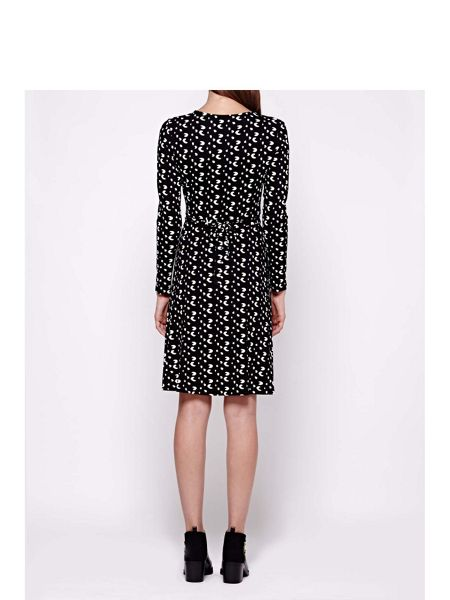 Yumi Jersey Wrap Dress With Mini Brush Stroke Print