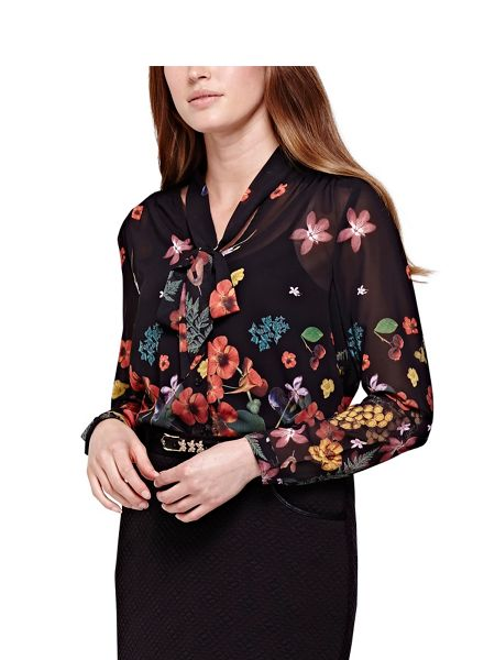 Yumi Pussy Bow Blouse With Botanical Print