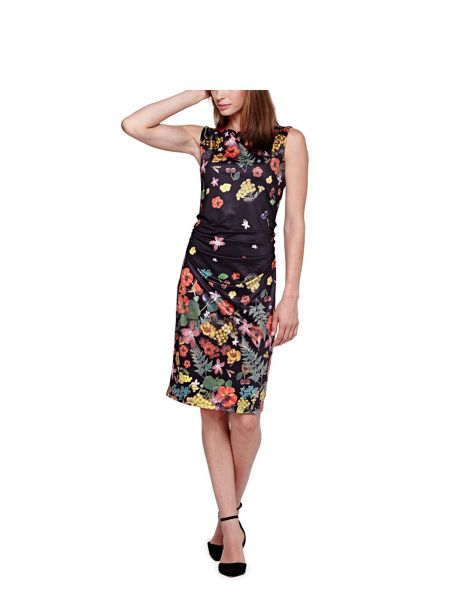 Yumi Sleeveless Jersey Dress With Botanical Print