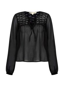 Yumi Embroidered Georgette Blouse With Tassels