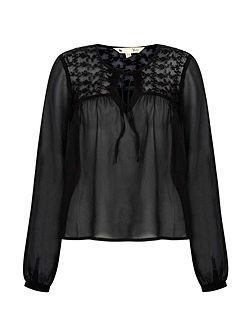 Embroidered Georgette Blouse With Tassels