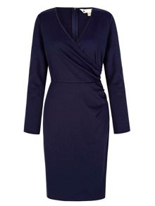 Yumi Navy Wrap Dress With Long Sleeves