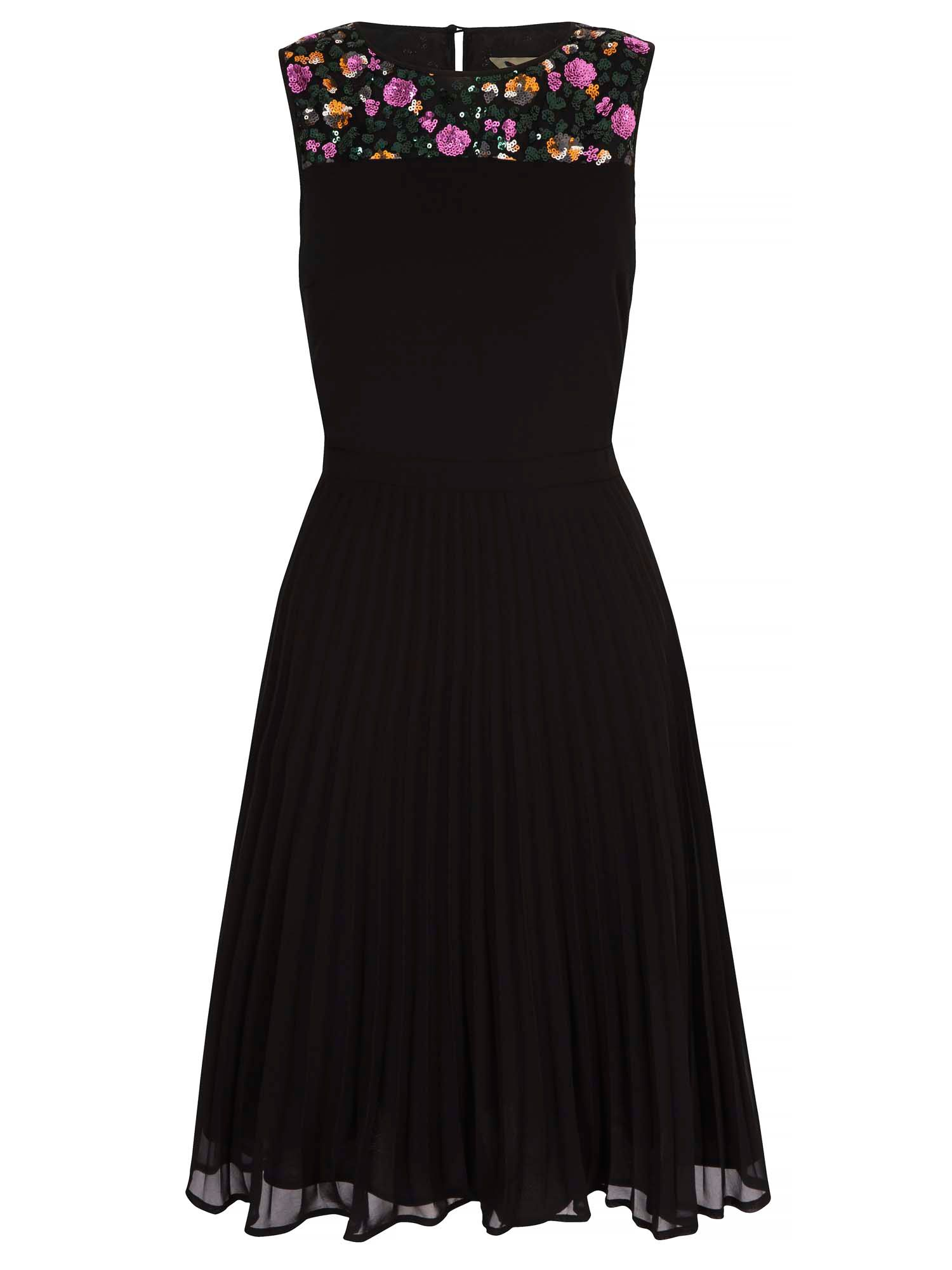 Yumi Pleated Party Dress With Sequins, Black