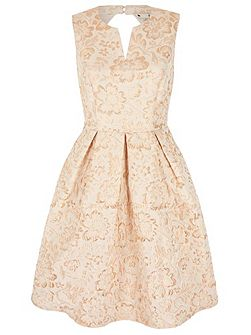 Gold Flower Print Party Dress
