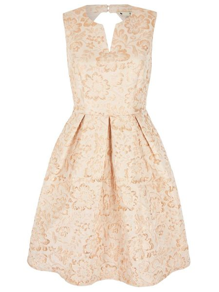 Yumi Gold Flower Print Party Dress
