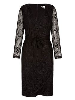 Lace Wrap Dress With Long Sleeves