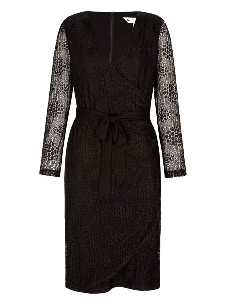 Yumi Lace Wrap Dress With Long Sleeves