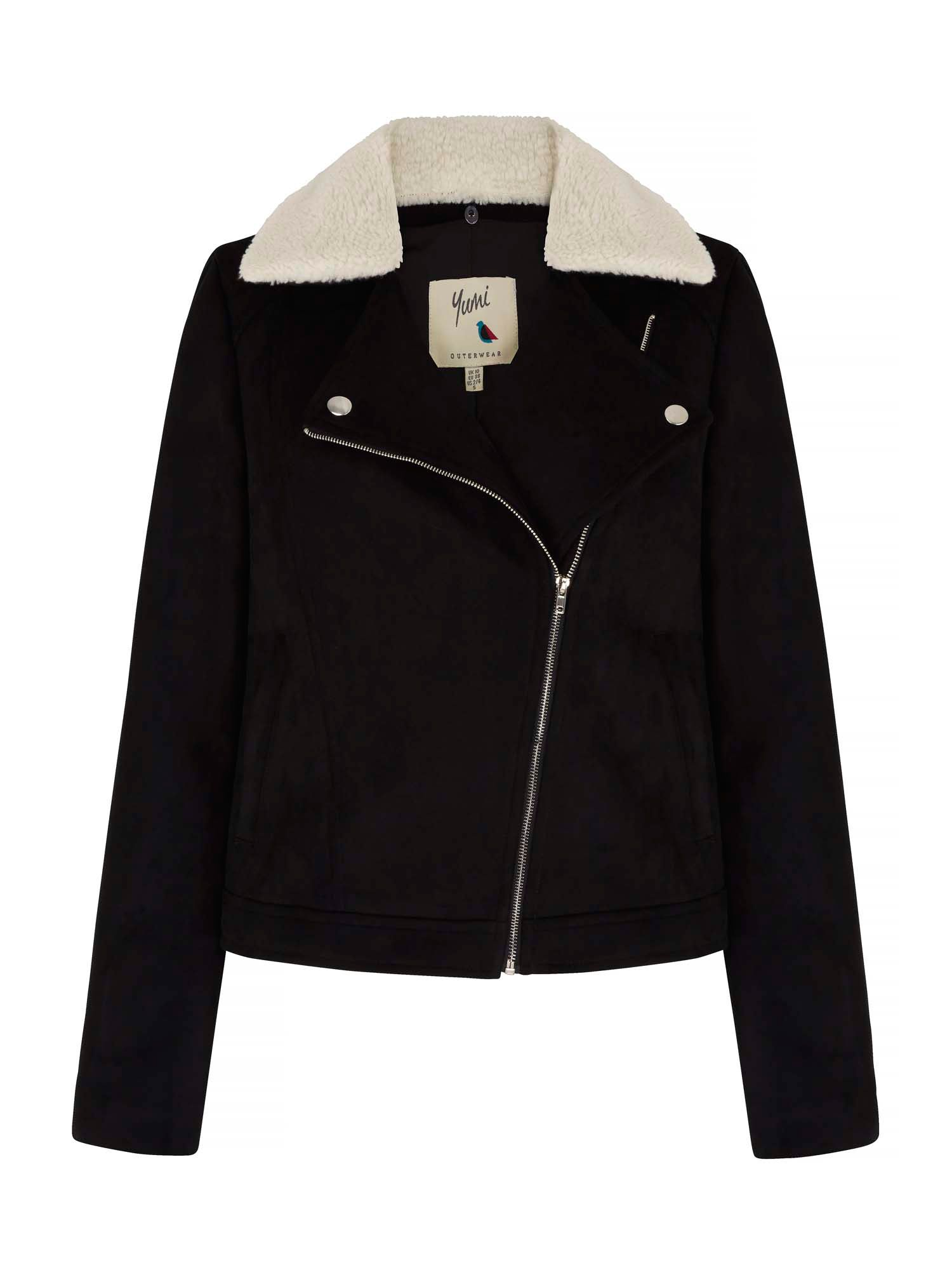 Yumi Suedette Jacket With Fleece Collar, Black