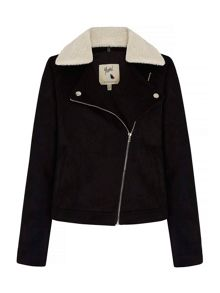 Yumi Suedette Jacket With Fleece Collar