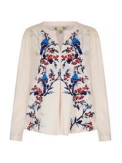 Floral Bird Printed Blouse
