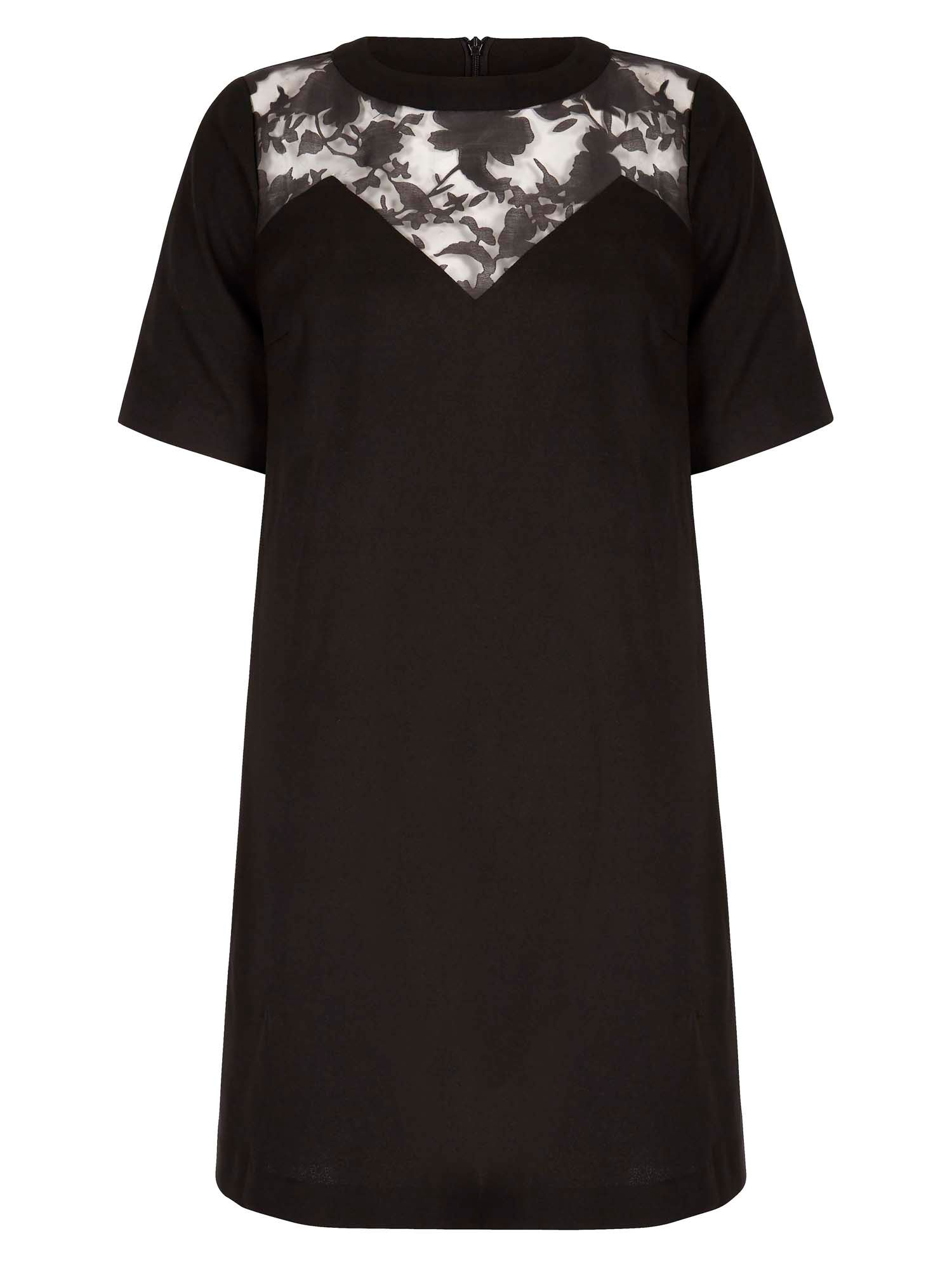Yumi Shift Dress With Floral Detail, Black
