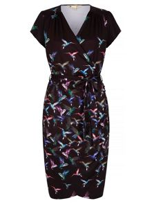 Yumi Wrap Dress With Humming Bird Print